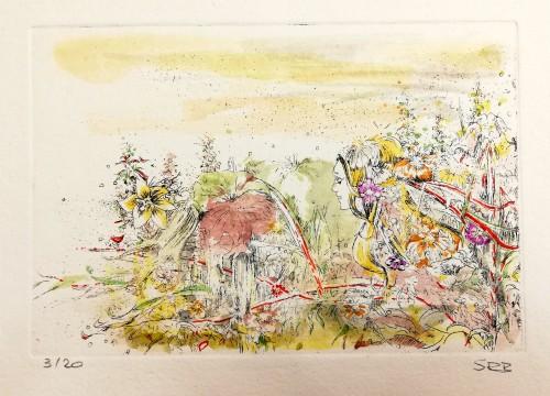 Radierung, koloriert, Motivgröße 14,5 x 10 cm, signiert, Auflage 20 Stück