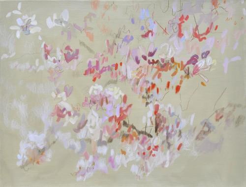 Magnolia, Öl und Farbstift auf Leinwand, 50 x 65 cm, 2017