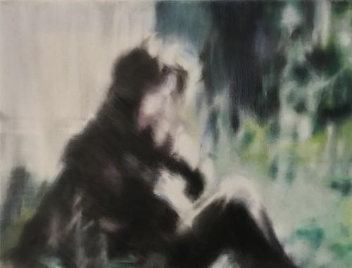 Anna im Gras, 2006, 38 x 50 cm, Öl/Pastell auf Leinwand