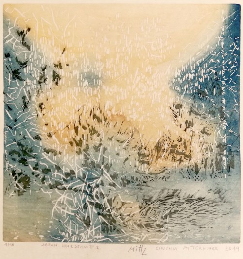 Cinthia Mitterhuber, 2019, Japan. Holzschnitt 2, Motivgröße 27 x 27 cm, Auflage 10 Stk.