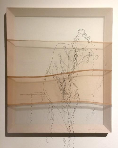 Lisa Reiter, Ohne Titel, 50x60 cm, Seidengarn auf Feinstrumpfhose, Holzrahmen