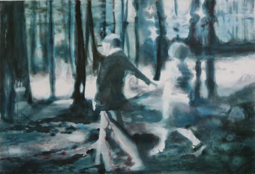 Es ist gefährlich lange zu gehen, 2008, 110 x 160 cm, Acryl auf Leinwand