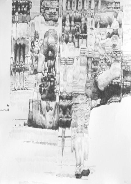 overflow, 2018, Bleistift auf Papier, 70 x 50 cm
