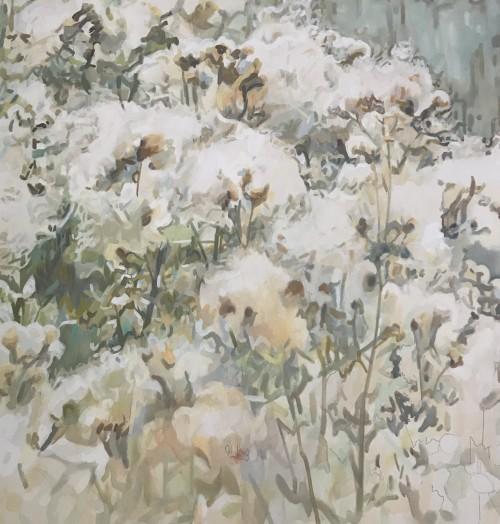 Cinthia Mitterhuber, Distel, Öl auf Leinwand, 120 x 120 cm, 2017