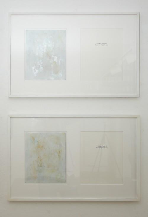 Trying to interpret the scent of brightness, 2013, Trying to interpret the scent of darkness, 2013 Wasserfarbe auf Aluminium, Text auf Papier, gerahmt mit Passepartout, 65 x 42 cm