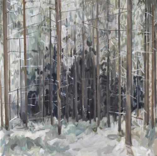 Cinthia Mitterhuber, schwarzer Sog, Öl auf Leinwand, 40 x 40 cm , 2016