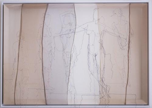 Ohne Titel, Seidengarn auf Feinstrumpfhose,  Holzrahmen, 100 x 70 cm, 2017