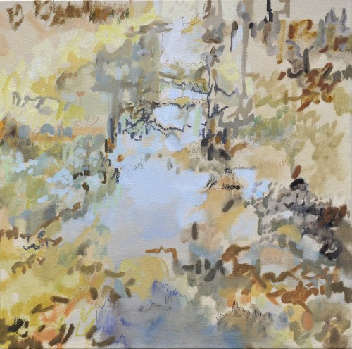 Gewässer, Öl und Farbstift auf Leinwand, 45 x 45 cm, 2017