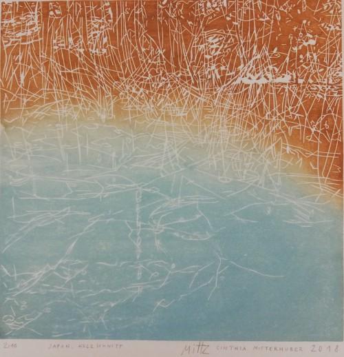 Cinthia Mitterhuber, 2018, Japan. Holzschnitt, Motivgröße 27 x 27 cm, Auflage 10 Stück