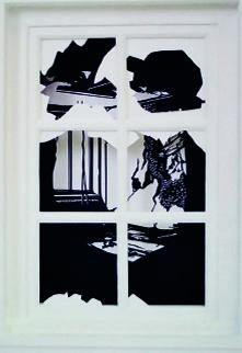 Paperwindow, Karton/Papierschnitt/Acryl,  50 x 40 x 10 cm, 2008