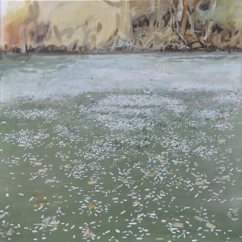 Cinthia Mitterhuber, Winterdots, Öl auf Leinwand, 120 x 120 cm, 2017