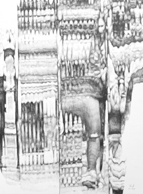 overflow, 2019, Bleistift auf Papier, 70 x 50 cm