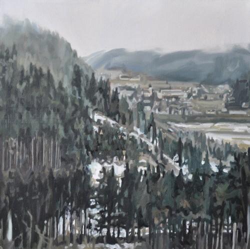 village green, Öl auf Leinwand, 40 x 40 cm, 2016