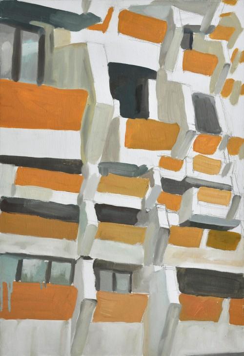 Cinthia Mitterhuber, Fragmentarische Anordnung, Tempera auf Hartfaserplatte,  48 x 32 cm, 2010