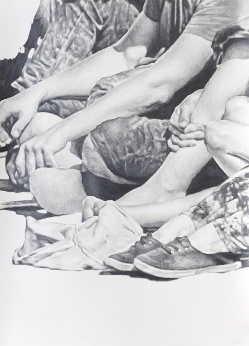 overflow, 2020, Bleistift auf Papier, 70 x 50 cm