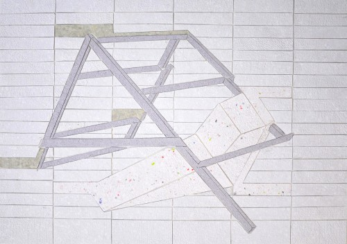 Hut, Handgeschöpftes Papier auf Transparentpapier, 66 x 50 cm, 2011