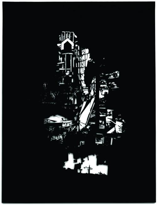 Building, Papierschnitt,  45 x 35 cm, 2016