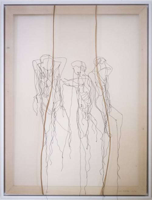 Ohne Titel, Seidengarn auf Feinstrumpfhose, Holzrahmen, 60 x 80 cm, 2017
