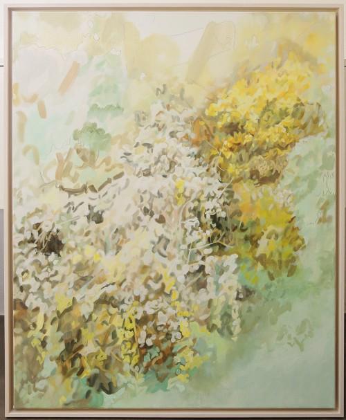 Cinthia Mitterhuber, Firendly Avalanch, Öl und Farbstift auf Leinwand, 100 x 79 cm, 2017